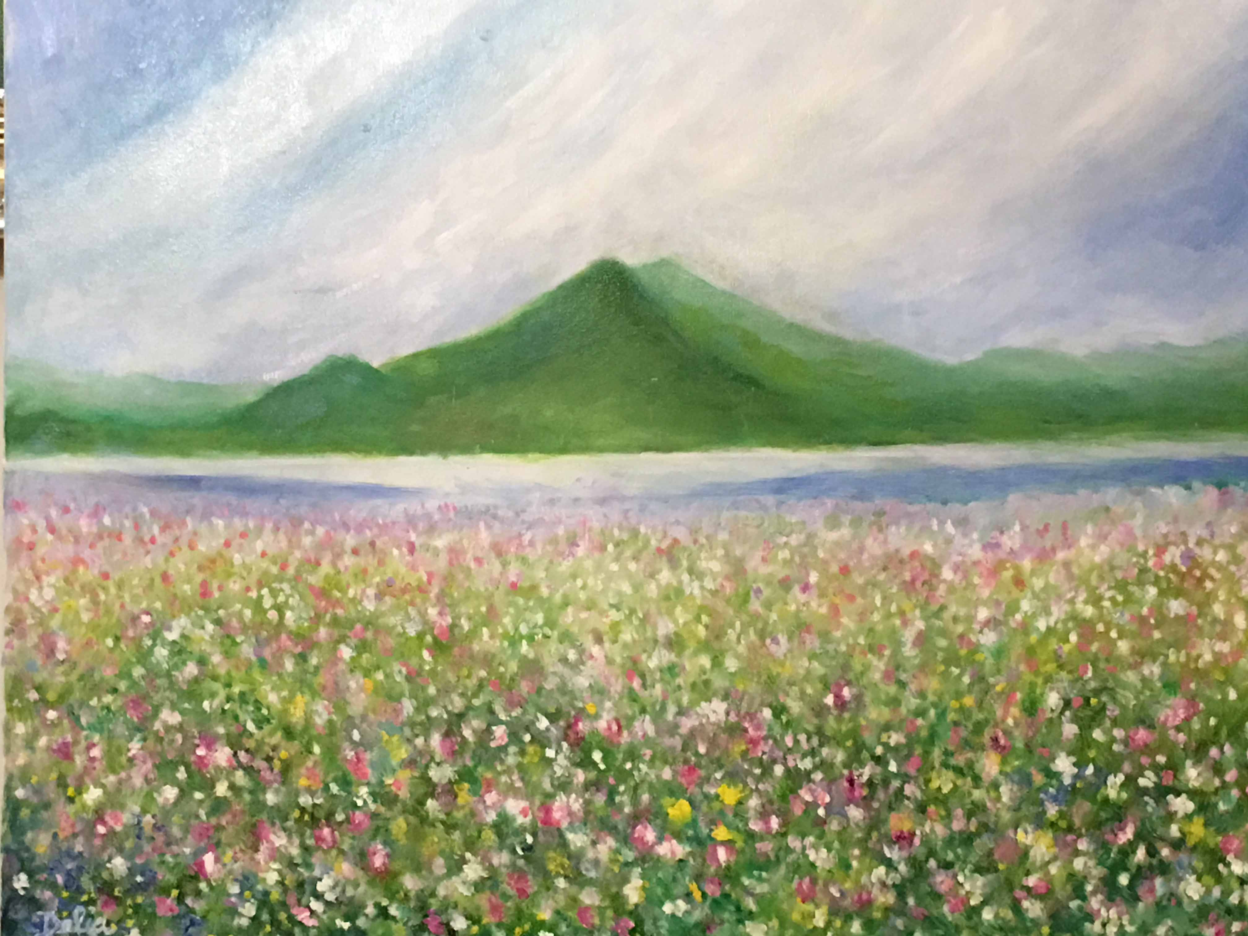 Enlightenment of spring oil paintings by delia chien for Spring canvas paintings