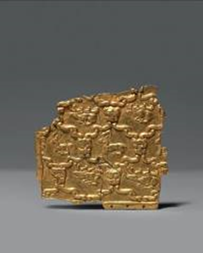 A highly important gold fragment with embossed animals  Central Asia, c. 7th century BC  H. 9.5 cm, W. 9 cm