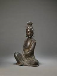 A rare bronze seated figure of Guanyin  Ming Dynasty (1368 – 1644)  H. 42 cm